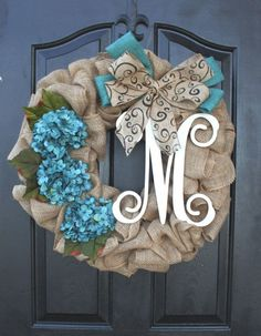 24 Burlap Wreath with Turquoise flowers and the initial by FSMT, $79.00