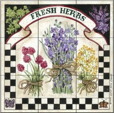 Fresh Herbs by Sandi Gore Evans - Kitchen Backsplash / Bathroom wall Tile Mural Tile Mural Store-Kitchen,http://www.amazon.com/dp/B00BDNPMVA/ref=cm_sw_r_pi_dp_B77Tsb1HYTWYH1C1