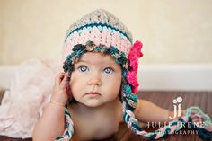 Infant baby girl hat Newborn girl hat Newborn photo prop. $21.00, via Etsy.
