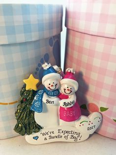 An Ornament Shop #BestSeller! Celebrate a #pregnancy for a special couple with this adorable Expecting Snowman Couple Christmas Ornament.