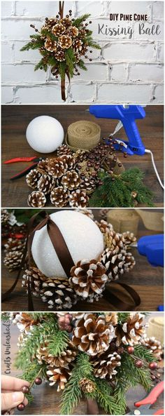 DIY Pine Cone Crafts for Your Holiday Decoration DIY Kissing Ball with Pine Cones. This beautiful pine cone DIY kissing ball is the perfect alternative to the traditional winter wreath for the fall and holiday decoration. Noel Christmas, Winter Christmas, Christmas Wreaths, Christmas Ornaments, Homemade Christmas, Pinecone Christmas Crafts, Winter Wreaths, Christmas Pine Cone Crafts, Pinecone Ornaments