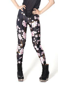 Black Skinny Plum Blossom Printed Elastic Leggings,Cheap in Wendybox.com