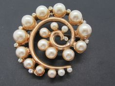 Excited to share the latest addition to my shop: Vintage Pearl Wedding Brooch Rhinestone Highlights Vintage Nautilus Shape Gold Tone Pearl Pin Gemstone Brooch, Pearl Brooch, Silver Brooch, Pearl Earrings, Vintage Pearls, Vintage Brooches, Vintage Gifts, Gold Rings Jewelry, Dainty Jewelry