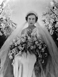 Princess Alice, Duchess of Gloucester (third daughter of the 7th Duke of Buccleuch), on her wedding day