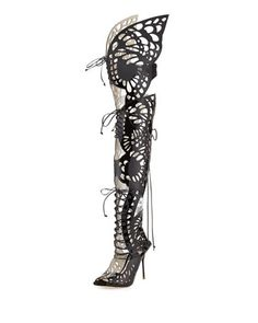 Athena Butterfly Gladiator Sandal, Black by Sophia Webster at Neiman Marcus.