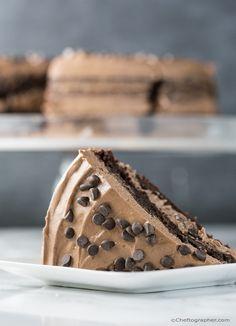Vegan (GF) Chocolate Lover's Cake w/ Chocolate Swiss Meringue Buttercream Frosting