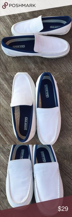 Men's Land End white slip on loafer sneakers S 9.5 These shoes are comfy easy on and off bright white and in excellent new condition! Worn once around the house! lands End Shoes Loafers & Slip-Ons