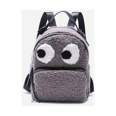 Grey Little Monster Design Zip Front Tweed Backpack (60 BAM) via Polyvore featuring bags, backpacks, gray bag, grey backpack, rucksack bags, knapsack bag i day pack backpack