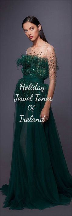 Fashion Themes, All Fashion, Couture Fashion, Vintage Fashion, Ireland Holiday, Green Fields, Vintage Couture, Designer Gowns, Jewel Tones