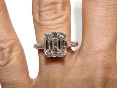 3.40ct  Emerald cut Diamond Engagement Ring in White Gold. $19,500.00, via Etsy. - A girl can dream, right????