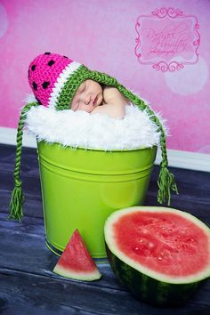 Watermelon Beanie by jennycweber on Etsy, $25.00