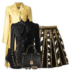 """Black & Gold Skirt"" by kiffanyl ❤ liked on Polyvore featuring Balmain, Alberta Ferretti, Mark Cross and Chanel"