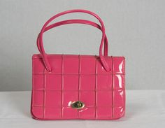 Vintage 1950's Pink Handbag Patent Leather Small by madvintage