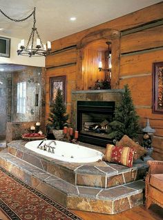 rustic retreat - master bath with fireplace dream bathroom :) Dream Bathrooms, Dream Rooms, Beautiful Bathrooms, Master Bathrooms, Master Tub, Luxury Bathrooms, Rustic Bathrooms, Log Home Bathrooms, Primitive Bathrooms