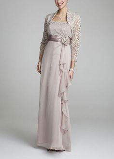 David's Bridal Chiffon and Lace Jacket Dress; a little more sedate.