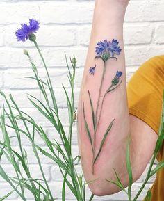 cornflower tattoo, make with real plant #liveleaftattoo #tattrx #cornflower…
