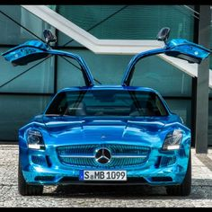 Electric Blue chrome Mercedes SLS! Electrifying!