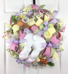 Easter Bunny Wreath deco mesh rabbit spring by BootsandDaisiesShop