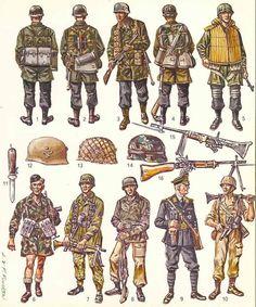 Fallschirmjager, uniforms.                                                                                                                                                                                 More