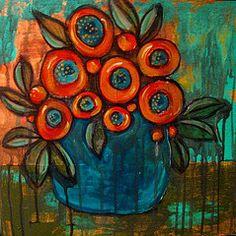 Floral Art by Suzan Buckner♥ Art Floral, Atelier D Art, Abstract Flowers, Teaching Art, Flower Art, Folk Art Flowers, Art Techniques, Painting Inspiration, Art Lessons