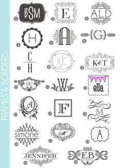 MONOGRAMS 72 fonts & frames Most are free (yay!) and those that are not, have a pink number next to them.