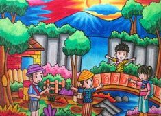 Art Drawings For Kids, Drawing For Kids, Easy Drawings, Art For Kids, Energy Conservation Poster, Oil Pastel Techniques, Oil Pastel Crayons, Crayon Drawings, Object Drawing