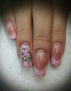 Pink Tips with Pink Rose accent nail