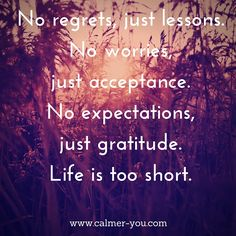 No regrets, just lessons. No worries just acceptance. No expectations, just gratitude. Life is too short. #calmeryou