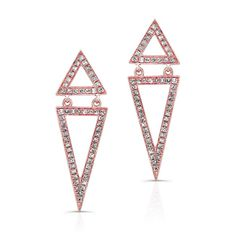 14K ROSE GOLD TRENDY V DESIGN  DIAMOND EARRINGS COMPLEMENTED WITH ROUND WHITE DIAMONDS, AND FEATURES 0.38 CARAT TOTAL WEIGHT