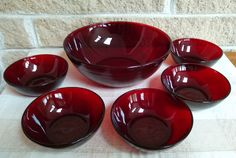 Royal Ruby Large Berry Bowl and 5 Small Fruit Bowls by Anchor Hocking - Red Dessert Bowls - Vintage Dinnerware - Retro Holiday Style by ClassyVintageGlass on Etsy