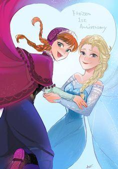 Disneyphile Land: Frozen First Anniversary Anna Frozen, Frozen Fan Art, Frozen Movie, Disney Frozen Elsa, Disney Pixar, Disney Princess, Frozen Pics, Disney Actual, Disney Love