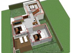 Home design plan 13x17m with 3 bedroom - House Plan Map