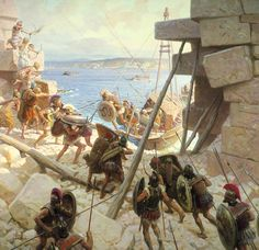 Macedonian troops attacking Tyre. ~ painting by Tom Lovell  In this painting Tom Lovell is trying to capture vigorous battle that was taking place.