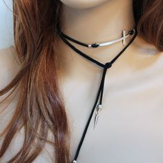 """- Product Info - Product Care - Shipping Measuring approximately 36"""" long this open necklace is great for everyday! This lariat has spikes and spacer beads on both ends with a simple 2"""" x 1"""" silver to"""