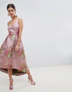ASOS EDITION Beautiful Floral Jacquard Midi Prom Dress