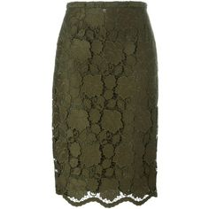 Nº21 Floral Lace Pencil Skirt (28.780 RUB) ❤ liked on Polyvore featuring skirts, green, flower print skirt, floral skirt, green lace skirt, brown skirt and floral knee length skirt