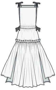 Fashion Design Sketchbook, Fashion Illustration Sketches, Fashion Design Drawings, Fashion Sketches, Fashion Templates, Dress Making Patterns, Dress Drawing, Fashion Portfolio, Technical Drawing