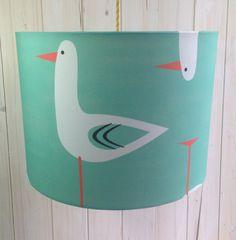 Modern Seagull Fabric Covered Drum by Lightflightlighting on Etsy