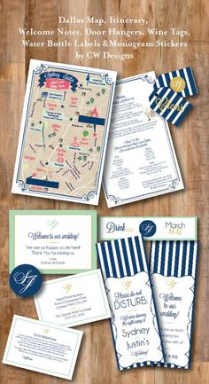 Blue & White Stripes Map, Day of Itinerary, welcome note and other Guest Tote Items Map Invitation, Wedding Invitation Sets, Wedding Stationary, Invitation Design, Event Invitations, Stationery Design, Wedding Paper, Wedding Cards, Wedding Bells