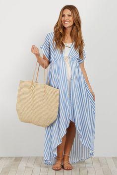 Blue Striped Hi-Low Long Kimono