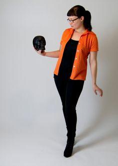 Vintage 1970s Orange Patterned Button-Down Short Sleeve Shirt on Etsy, $23.00