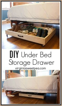 DIY Under Bed Storage Drawer Don't let empty space under your bed go to waste! DIY Under Bed Storage Drawer Don't let empty space under your bed go to waste! Utilize it with an Shoe Organizer Under Bed, Diy Storage Under Bed, Under Bed Drawers, Under Bed Organization, Diy Shoe Organizer, Bedroom Organization, Shoe Storage Drawers, Diy Drawers, Diy Storage Closet