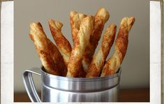 Cheese Straws - Cheesy Bread Sticks Recipe Chef John - Food Wishes… Puff Pastry Dough, Frozen Puff Pastry, Cheese Sticks Recipe, Biscuits, Cheesy Breadsticks, Homemade Breadsticks, Breadsticks Recipe, Cheese Straws, How To Make Cheese
