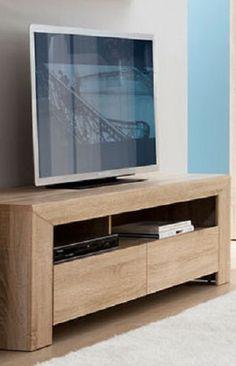Modern greeploos eiken tv-meubel bestaande uit twee laden met daarboven een open vak