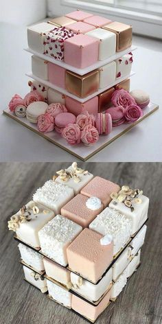 A base of these (if they're like mini cakes not petit fours). Then a square … A base of these (if they're like mini cakes not petit fours). Then a square layer on top to cut. Pretty Cakes, Cute Cakes, Beautiful Cakes, Amazing Cakes, Fancy Cakes, Crazy Cakes, Sweet Cakes, Beautiful Desserts, Mini Cakes