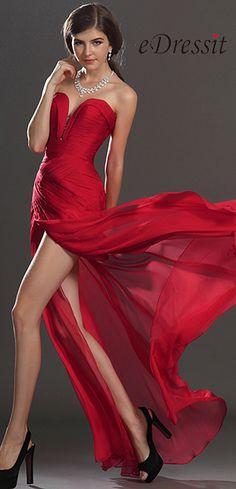 [USD 154.89] eDressit Stylish Ruched bodice Red Evening Dress (00120502)
