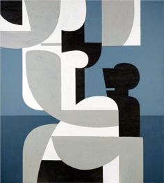 """Yiannis Moralis was an important Greek visual artist and part of the so-called """"Generation of the From the he moved from the realistic depictions of the human form of his earlier works towards a geometric stylisation incorporating curves. Greek Paintings, European Paintings, Art Antique, Greek Art, Op Art, Artist Art, Les Oeuvres, Graphic Art, Contemporary Art"""