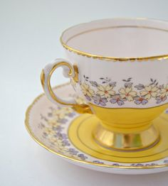 Tea cup and saucer Tuscan fine English bone by AGardenCottage