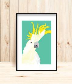 Cockatoo Wall Art Printable, Cockatoo Prints, Printable Bird Art, Cheeky Cocky Printable, Painted Bird Prints, Yellow-crested Bird Wall Art