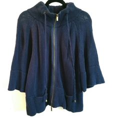 Lane Bryant Blue Zip Up Cape-Like Cardigan 18/20 This Lane Bryant Blue Zip Up Cape-Like Cardigan 18/20 is in good used condition. One of the drawstrings is a bit unraveled, as shown in 2nd photo. Nice wide sleeves for a cape look. 100% cotton. Has a nice weight to it. Bust measures 22 inches across laying flat, measured from pit to pit. Has some stretch. Length is 25.5 inches. Zipper is antiqued brass tone. ::: Bundle 3+ items from my closet and save 30% off when you use the app's Bundle…